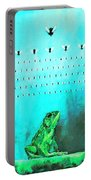 Frog With Flies In Space Invaders Formation Portable Battery Charger by Fabrizio Cassetta