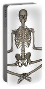 Front View Of Human Skeleton Meditating Portable Battery Charger