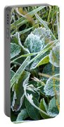 Frost On Strawberry Leaves Portable Battery Charger