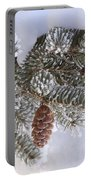 Frosted Pine Tree And Cones 1 Portable Battery Charger