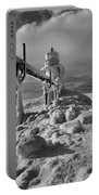 Frozen Grand Haven Lighthouse Black And White Portable Battery Charger