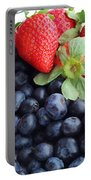 Fruit 2- Strawberries - Blueberries Portable Battery Charger by Barbara Griffin