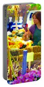 Fruit And Vegetable Vendor Roadside Food Stall Bazaars Grocery Market Scenes Carole Spandau Portable Battery Charger