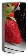 Fruit II - Strawberries - Blackberries Portable Battery Charger by Barbara Griffin