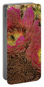 Fuchsia Cactus Flowers Gold Leaf Portable Battery Charger