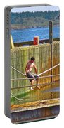 Fun At The Ferry Dock On Brier Island In Digby Neck-ns Portable Battery Charger