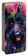 Funny Curious Scottish Terrier Dog Portrait Portable Battery Charger by Svetlana Novikova