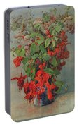 Fushia And Snapdragon In A Vase Portable Battery Charger