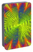 Futuristic Disc Blue Red And Yellow Fractal Flame Portable Battery Charger