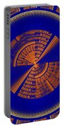 Futuristic Tech Disc Blue And Orange Fractal Flame Portable Battery Charger