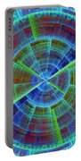 Futuristic Tech Disc Red And Blue Fractal Flame Portable Battery Charger