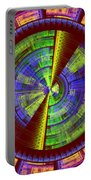 Futuristic Tech Disc Red Green And Yellow Fractal Flame Portable Battery Charger