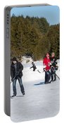 Game Of Ice Hockey On A Frozen Pond  Portable Battery Charger