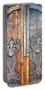 Ganesh Door Plating At The Yoga Maya Hindu Temple In New Delhi India Portable Battery Charger
