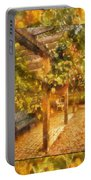 Garden Flowers With Bench Photo Art 02 Portable Battery Charger