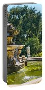 Garden Fountain - Iconic Fountain At The Huntington Library And Botanical Ga Portable Battery Charger
