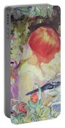 Garden Girl - Antique Collage Portable Battery Charger by Eloise Schneider