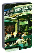 Garden Party Celebrations Under The Cool Green Umbrellas Of Restaurant Chase Cafe Art Scene Portable Battery Charger