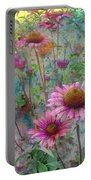 Garden Pink And Abstract Painting Portable Battery Charger