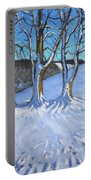 Gate And Trees Winter Dam Lane Derbyshire Portable Battery Charger