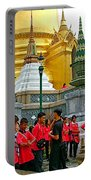 Gathering Near Pagodas Of Grand Palace Of Thailand In Bangkok Portable Battery Charger