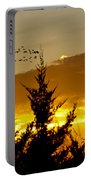 Geese In Golden Sunset Portable Battery Charger