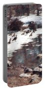 Geese On An Icy Pond Portable Battery Charger