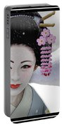Geisha In Snow On Mt. Fuji Portable Battery Charger