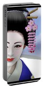 Geisha On Mount Fuji Portable Battery Charger