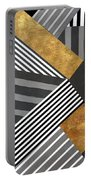 Geo Stripes In Gold And Black II Portable Battery Charger