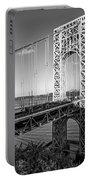 George Washington Bridge Nyc Bw Portable Battery Charger by Susan Candelario
