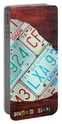 Georgia The Peach State License Plate Map On Fruitwood Portable Battery Charger