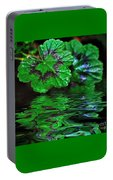 Geranium Leaves - Reflections On Pond Portable Battery Charger