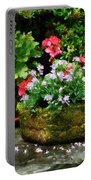 Geraniums And Lavender Flowers On Stone Steps Portable Battery Charger