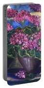 Geraniums Blooming Portable Battery Charger by Sherry Harradence