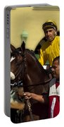 Getting Ready - Jockey And Horse For The Race Portable Battery Charger