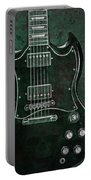 Gibson Sg Standard Green Grunge With Skull Portable Battery Charger