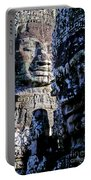 Gigantic Face Statues At Khmer Temple Angkor Wat Ruins Cambodi Portable Battery Charger