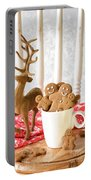 Gingerbread Family At Christmas Portable Battery Charger