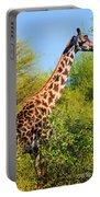 Giraffe Among Trees. Safari In Serengeti. Tanzania Portable Battery Charger