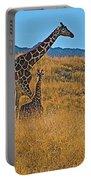 Giraffe Family In Living Desert Museum In Palm Desert-california Portable Battery Charger