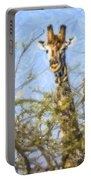 Giraffe Giraffa Camelopardalis Peeping From Acacia Portable Battery Charger