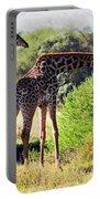 Giraffes On Savanna Eating. Safari In Serengeti Portable Battery Charger