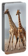 Giraffes Standing Together Portable Battery Charger by Johan Swanepoel