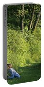 Girl And Dog On Trail Portable Battery Charger