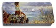 Girl And The Ocean Sitting On The Rock Portable Battery Charger