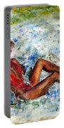 Girl In A Red Swimsuit Portable Battery Charger