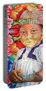 Girl In Flowers Portable Battery Charger
