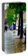Girl In The Yellow Raincoat Rainy Stroll Through Streets Of The City Montreal Scenes Carole  Portable Battery Charger