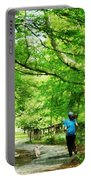 Girl Jogging With Dog Portable Battery Charger